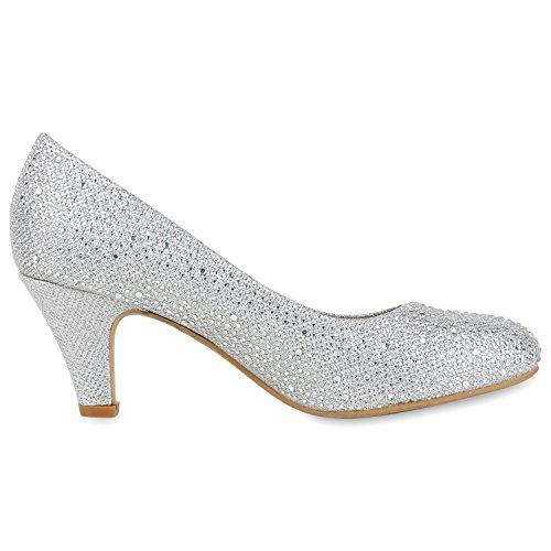 fashion Strass Stiletto Schuhe Metallic Abendschuhe Hochzeit