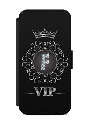 aina iPhone 5 & 5s Flipcase Tasche mit Magnetverschluss aufklappbar mit Standfunktion Buchstabe F Name VIP