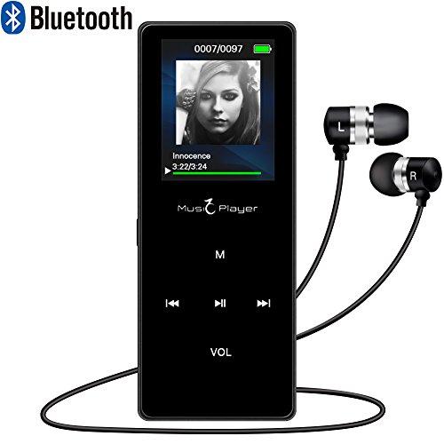 ELINKER Lecteur MP3 MP4 Bluetooth(Version 2012),8GB avec Boutons tactiles,Lecture de Musique pour Sport, Radio FM, vidéo, e-Book,podomètre, Extensible jusqu'à 128 GB(Noir)