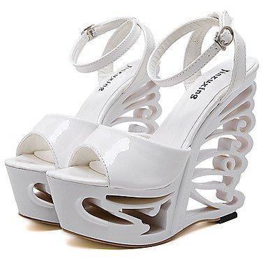 LvYuan Da donna-Sandali-Formale-Club Shoes-Zeppa-Vernice-Bianco Argento White
