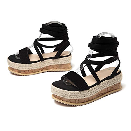 MENGLTX High Heels Sandalen New Single Shoes Damenmode Dicke Runde Stirnbänder Sandalen Einfarbig Temperament Damenschuhe, Schwarz, 41 (Dickes Leder Stirnband)