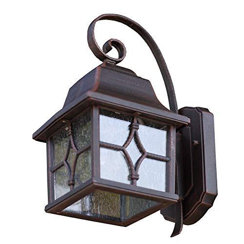 Außenleuchte 24 cm braun   Wand-Laterne im rustikalen Landhaus-Stil   Wandlampe mit geriffeltem Glas   antike Terrassenbeleuchtung E27   Außenwandleuchte IP44 + winterfest + dimmbar