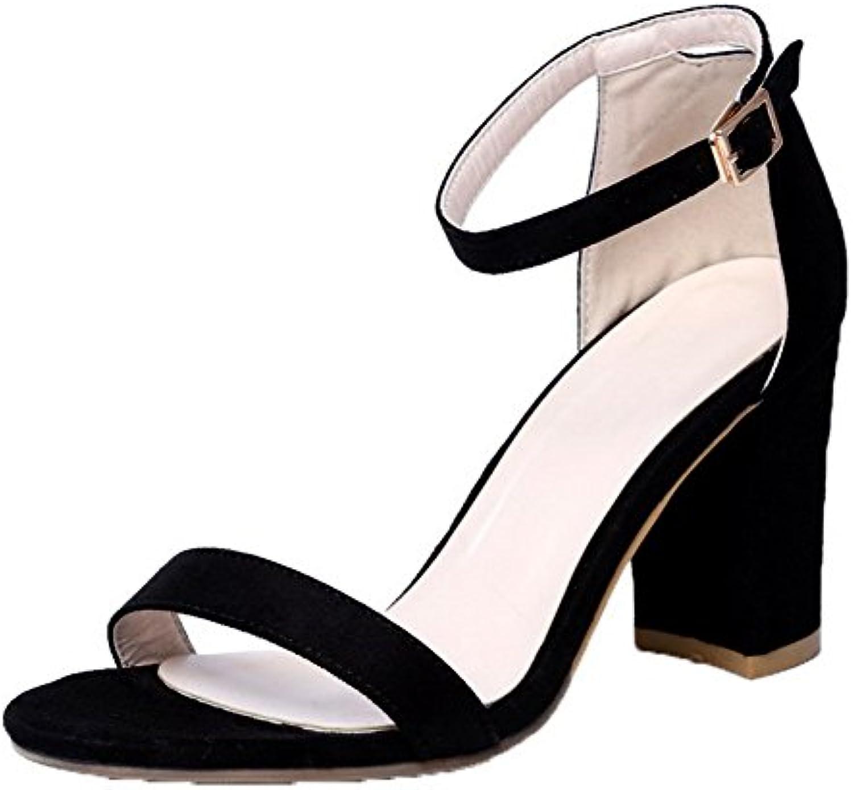 AgooLar Damen Offener Zehe Schnalle Blend-Materialien Rein Hoher Absatz Sandalen