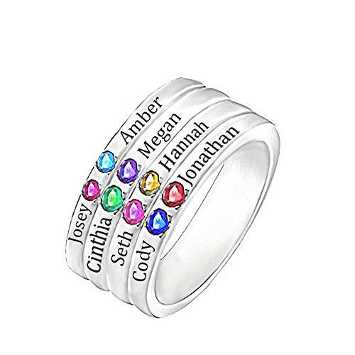Collienght Personalisierter Ring Mutterring Schreiben Sie den Namen oder Geburtstag Ihres Kindes in den Ring(Silber Plated 55 (17.5))