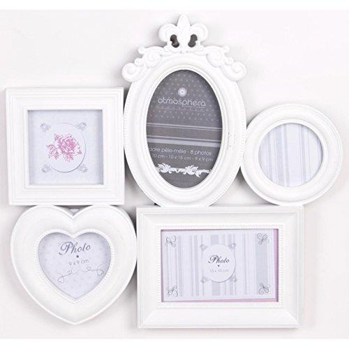 Cadre pêle-mêle 5 photos - Multi formes - Blanc