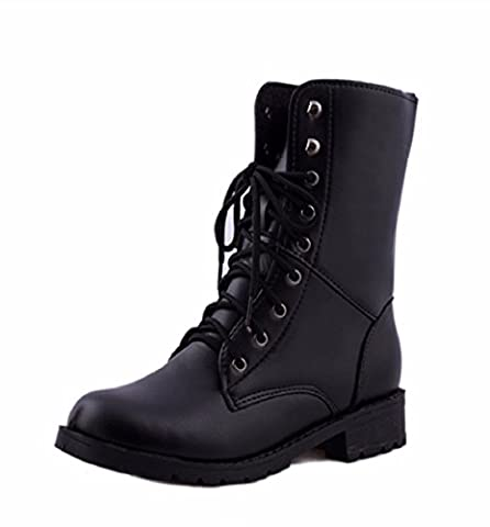 Bottes Femme, Amlaiworld Bottes militaires de combat de l'armée noire (EU 41, Noir)