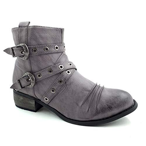 Angkorly - Damen Schuhe Stiefeletten - Biker - Reitstiefel Kavalier - Western - String Tanga - Schleife - Perforiert Blockabsatz 4 cm - Grau FM621 T 39