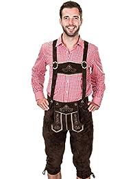 Bayerische Trachtenlederhose, Herren Trachten Lederhose mit Trägern, original in Dunkelbraun, Oktoberfest, Größe 44, 46, 48, 50, 52, 54, 56, 58, 60