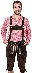 Bayerische Trachtenlederhose, Herren Trachten Lederhose mit Trägern, original in Dunkelbraun, Oktoberfest, Größe 56