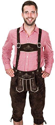 Bayerische Trachtenlederhose, Herren Trachten Lederhose mit Trägern, original in Dunkelbraun, Oktoberfest, Größe 50