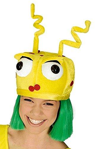 Marsmenschen Kappe Auserirdischer in gelb für ET Kostüm Marsmenschen (Marsmensch Kostüm Alien)