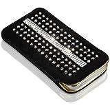 LINCARA® Apple iPhone 4 & 4s - Luxus Tasche / Hülle / Case / Etui mit SWAROVSKI Elements (kein Strass / Bling Bling), Design Colour, Leder Schwarz & Gold