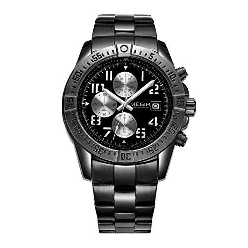MEGIR 2030G Business-Mann-Uhr-Luxus-Stahlmarke-Quarz-Uhr-Armbanduhr-Chronograph-wasserdichte Multifunktionssportuhr - Reines Schwarzes