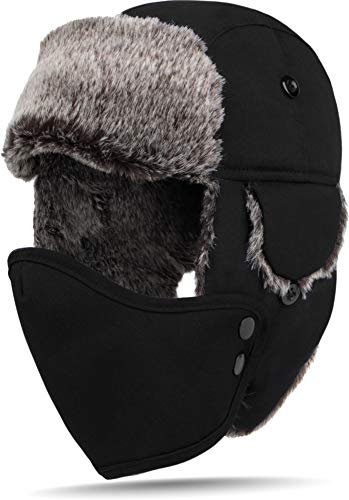 normani Fliegermütze Wintermütze Fellmütze Uschanka Russian Style [M-XL] Farbe Schwarz Größe S (Russische Mütze Xl)