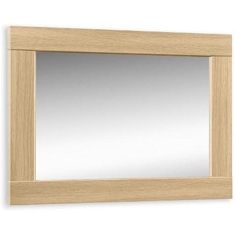 Julian Bowen Strada - Espejo de pared, color gris y roble claro