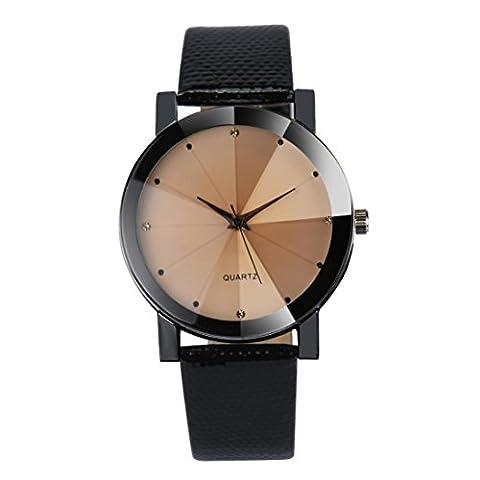 Herren-Armbanduhr, ourmall Herren Luxus Quarz-Sport Edelstahl Zifferblatt Leder Band Armbanduhr D