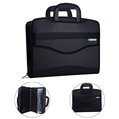 Multifunktionale Konferenzmappe Aktentasche Tagungsmappe mit Reißverschluss Handtasche Notebooktasche Dokumentenmappe Aktenmappe für Geschäftsleute schwarz
