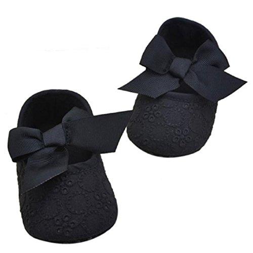 BZLine® Baby Mädchen Baumwolle Bowknot weichen Blume Prewalker Schuhe Schwarz