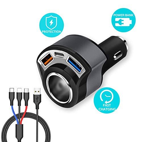 ZDZHU USB Auto Ladegerät - 4 in 1 Zigarettenanzünder Adapter, Dual USB Quick Charge 3.0 und1.5A Typ C für Handy GPS Dash Cam, mit 3 in 1 Ladekabel Gps-adapter Home Wand -