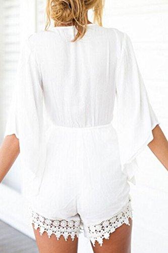 Sexy Deep V cou Floral barboteuses des femmes white