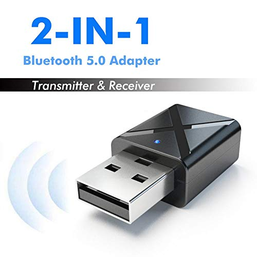 ATpart USB Bluetooth Adapter, Bluetooth Sender Empfänger 2 in 1 USB Wireless Audio Adapter 5.0 Auto Handfree MP3 Musik Player Usb-empfänger