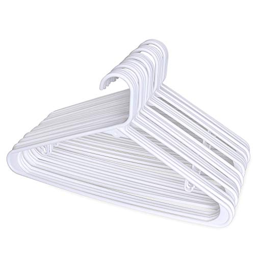 HOUSE DAY Cintres adultes tubulaires en plastique 24pcs cintres en plastique légers blancs 16,5 pouces