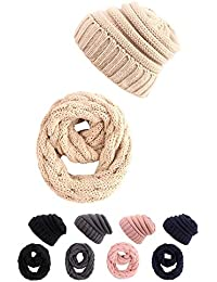 STYLE SLICE Cable Knit Hat and Scarf Sets Mens Womens Unisex Beanie Circle Loop Infinity Scarfs Neck Warmer Black Blue Burgundy Cream Grey Pink Ski Snowboard Warm Winter Beeny
