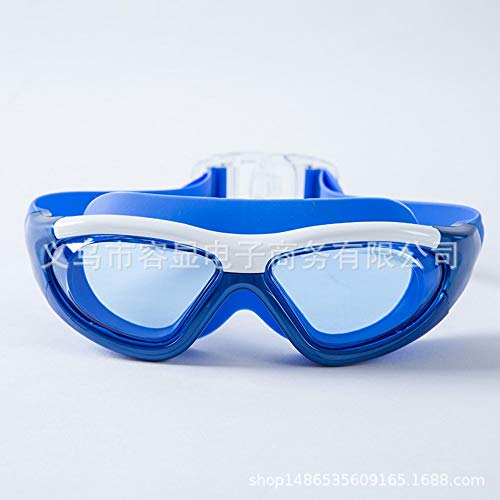 MHP Schwimmen Ausbildung Bunte Schutzbrillen flach Licht wasserdicht Anti-Fog Erwachsene HD Unisex große Box Schwimmbrille, blau 2 -