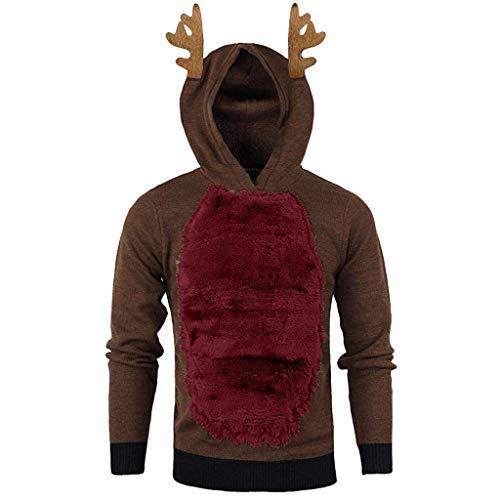 Aoogo Männer Lustig Weihnachten 3D Drucken Mit Kapuze Lange Ärmel Tasche Pullover Drucken Hässlich Hemd Weihnachtspullover Sweatshirt Christmas Geweih Sweater