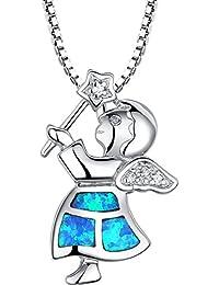Arco Iris Jewelry Colgante de collar de la mujer de plata de ley con azul y verde ópalo de fuego y circonio cúbico, muchacha del ángel, cadena de veneciana, 46cm