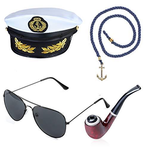Beelittle Yacht Kapitän Hut Kostüm Zubehör Set einstellbar Boot Sailor Schiff Skipper Cap Aviator Sonnenbrille Tabakpfeife mit Anker Design-Zubehör (C)