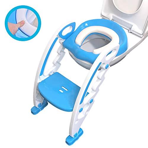 MAEY Töpfchentrainer mit Treppe/Toilettensitz mit Trittleiter/Rutschfest & Höhenverstellbare Klotreppe/Toilettentrainer für Klein-Kinder/Stabil & Einklappbar/Sitzverkleinerer/ 1-7 Jahre/Babyblau