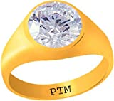 PTM Certified Zircon (American Diamond) Panchdhatu Gold Plated Ring 8.25 Ratti or 7.50 Carat for Gents-A1082534