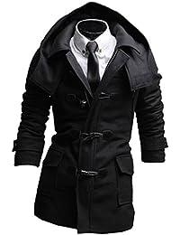 Herren Zweireiher Stehkragen Winter Mantel Trench Duffle-Mantel peacoat