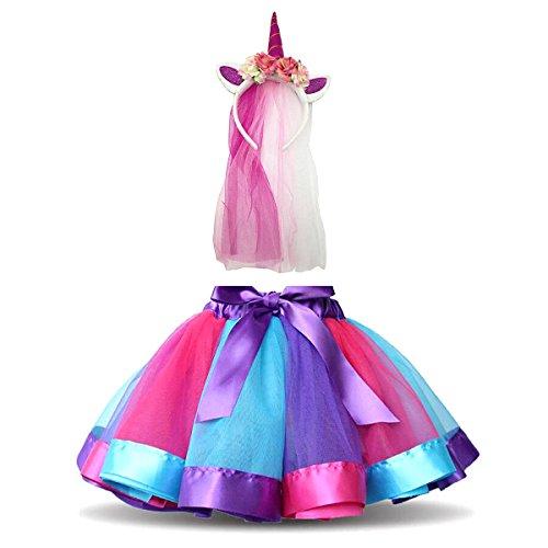 Girl Kostüm Party Rock - MFEU Mädchen Kinder Regenbogen Kostüm Set, Regenbogen Pettiskirt Ballett Bowknot Rock Tutu Set, Einhorn Haarreif Haarband Kostüm für Tanz Party Karneval,M<4-6 Jahre Alt>