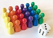 Spieltz Spielfiguren Set aus Holz für Ludo. Spielmaterial für Brettspiele. (Halmakegel Standardgröße, 12/24 mm