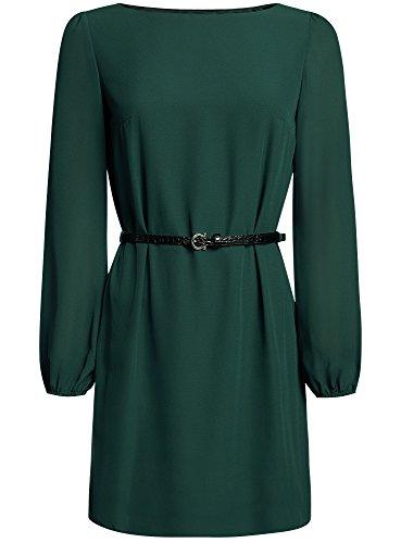 oodji Ultra Femme Robe Mousseline avec Ceinture Vert (6900N)