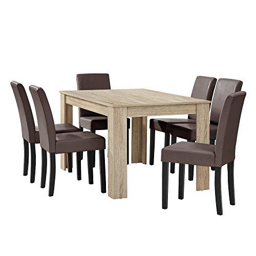 [en.casa] Esstisch Eiche hell mit 6 Stühlen braun Kunstleder gepolstert 140x90 Essgruppe Esszimmer (Esstisch 6 Mit Leder)