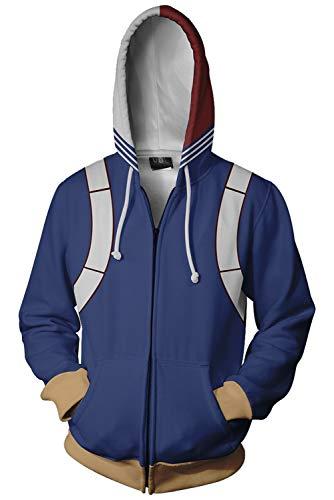 Xiemushop My Hero Academia Boku no Hero School Training Hoodie Unisex-Blau Hoodie Cosplay Jacke Kapuzenpullover Sweatshirt Kostüm Reißverschluss Mantel