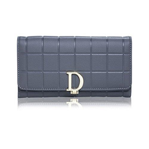 CLOTHES- Sacchetto di borsa dellinarcamento della borsa del raccoglitore del cuoio della signora della borsa Sezione lunga Semplicità di svago Borsa di multi-card di capacità elevata ( Colore : Viola Grigio