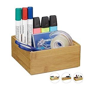 Relaxdays Ordnungsbox Bambus, stapelbar, natürliche Optik, Aufbewahrungsbox Küche, Bad, HxBxT: 6,5 x 15 x 15 cm, Natur…