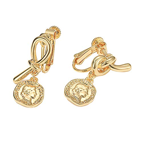 Beleuchtung Reiner Diamant (GYUE Barock Ohrringe-Vintage Goldmünze Porträt Bogen asymmetrische Ohrringe weibliche Senior Temperament Ohrringe Persönlichkeit einfache Ohrringe Ohrringe (Rotgold)-B)