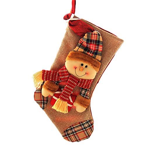 Hilai Christmas Strümpfe Bag Santa Snowman Rentier Xmas Charakter 3D hängende Geschenk Süßigkeiten Socken Geschenk Strumpf Tasche für Ferienhaus Party (Snowman)