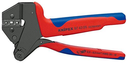 Knipex 97 43 05 Pince à sertir Universelle pour profils de sertissage interchangeables brunie avec Gaines bi-matière 200 mm, Multicolore