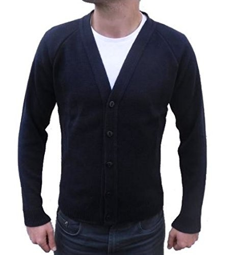 London Knitwear Gallery Mens Knitwear Casual Button Cardigan Vintage Navy S