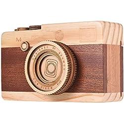 Kalaok Caja de música de madera Diseño de cámara retro Melodía clásica Cumpleaños Festival de Navidad Regalos musicales Decoración de la oficina en casa Artesanía