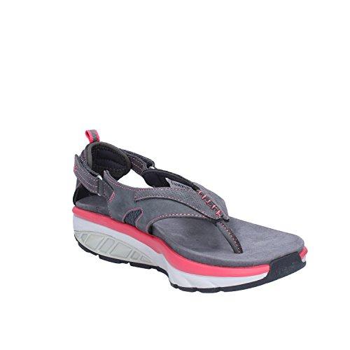 MBT 700348 KISUMU SPORT-THONG grigio pelle sandali infradito donna strappo Grigio/Rosa