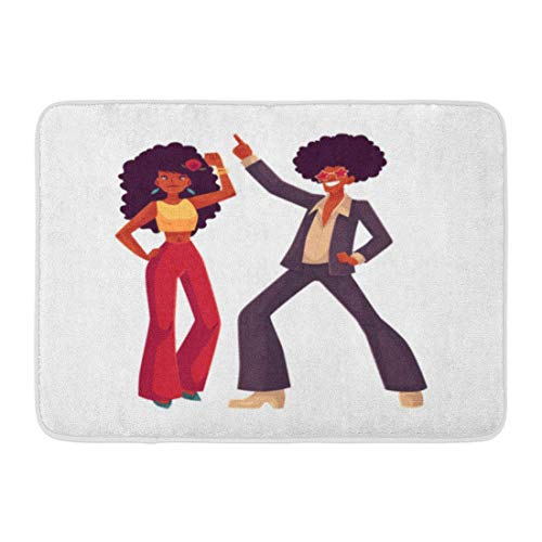 (TEPEED Bath Mat Man and Woman with Afro Hair and 1970S Dancing Disco Cartoon White Young and in Flares with African Bathroom Decor Rug 15.7