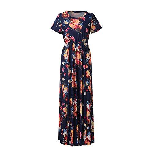 JXQ-N Damen Strandkleider Minikleid Sommer Neue Damen böhmischen Print Kleid Damen Floral Pocket Dress -