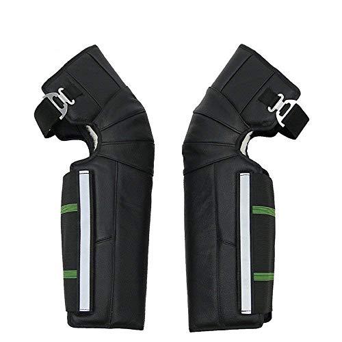 Wolle Knee Warmers (Collision Avoidance Knee Sleeve Einstellbare Leder Wolle Kniestütze Pads Motorrad Warm Winter Kalt und Winddicht für Reiten Radfahren Skaten Anti -Slip Straps)